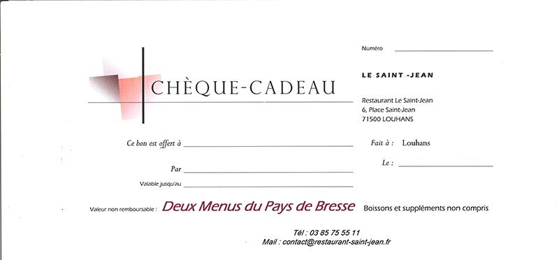 Carte Cadeau Restaurant.Cheques Cadeaux Restaurant Le Saint Jean Louhans 71